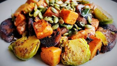 Photo of Smokylicious Vegan Sausage & Brussels Sprouts Hash