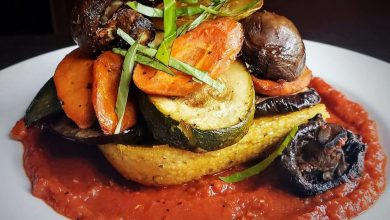 Photo of Best Roasted Veggies, Baked Polenta & Red Pepper Sauce